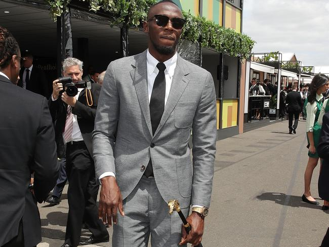 Usain Bolt looked much more comfortable at Flemington than he ever did in a Mariners jumper.