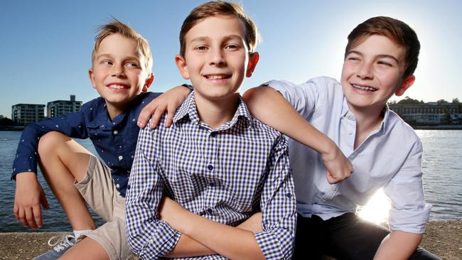 The Crain brothers (from left to right) Max, 9, Joshua, 10, and Harry, 13. Picture: AAP