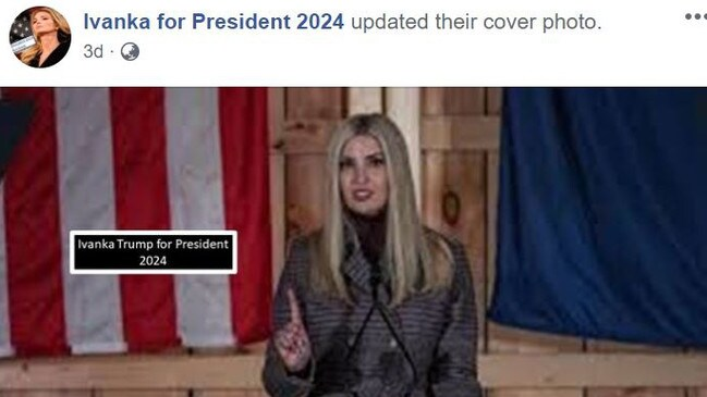 A Facebook page (above) has been started touting Ivanka Trump as the Republican presidential candidate for the next race in 2024