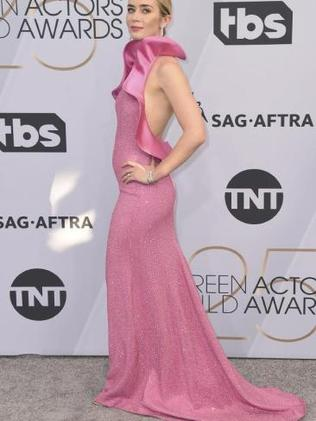Emily Blunt turning heads in a stunning pink gown. Picture: Jordan Strauss/Invision/APSource:AP