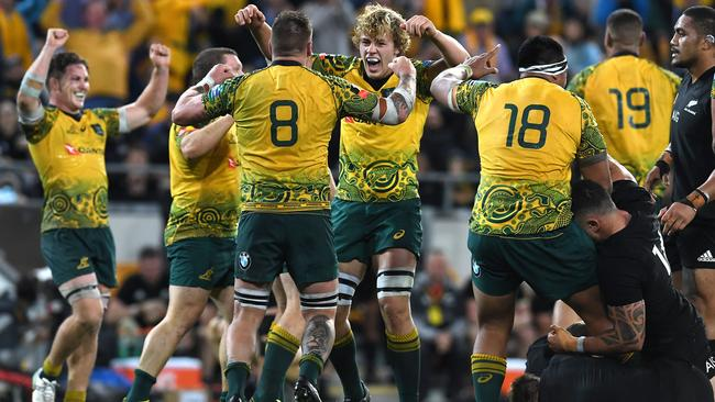 Wallabies players celebrate winning the third Bledisloe Cup match against the All Blacks.