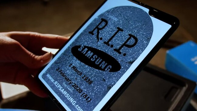 Escobar Inc. declares Samsung dead in a video advertising its newest phone, which happens to look exactly like the Samsung Galaxy Fold