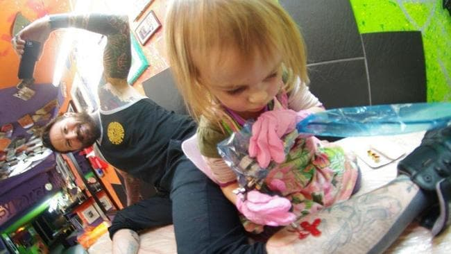 She started tattooing at two years of age. Picture: JamPress