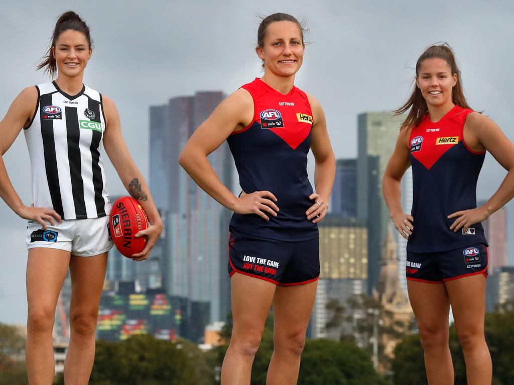 MELBOURNE, AUSTRALIA - APRIL 26: (L-R) 2020 AFLW All Australian team members Sharni Layton of the Magpies, Karen Paxman of the Demons, Kate Hore of the Demons and Jaimee Lambert of the Magpies pose for a photograph on April 26, 2020 in Melbourne, Australia. (Photo by Michael Willson/AFL Photos)