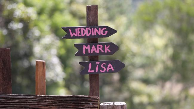 A wedding sign was spotted at Lisa Curry's Sunshine Coast home. Picture: MEGA