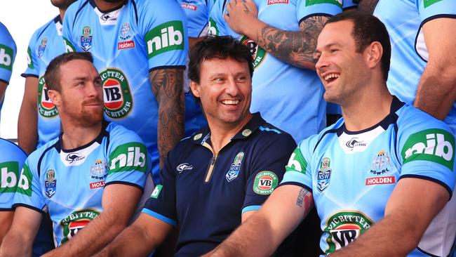 James Maloney, Laurie Daley and Boyd Cordner during the NSW Blues team photo. Picture: Mark Evans