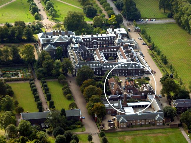 Aerial view of Kensington Palace, London. Circled is Nottingham Cottage. Picture: Getty Images