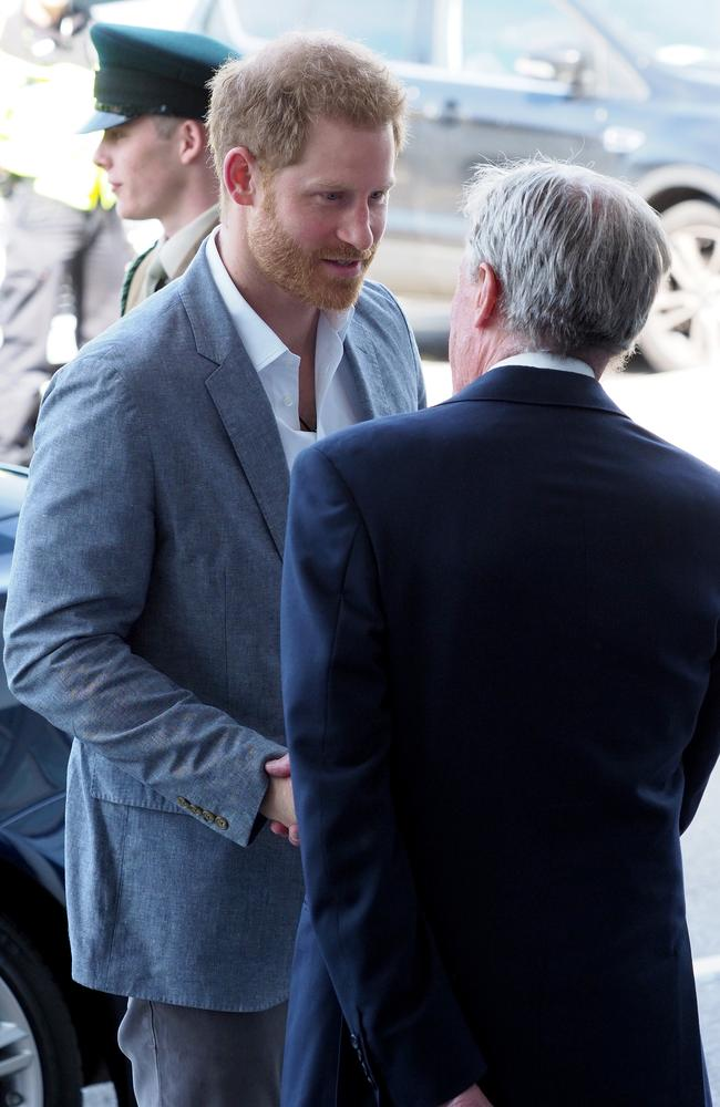 Prince Harry also had a busy day. He visited the Oxford Children's Hospital. Picture: MATRIX
