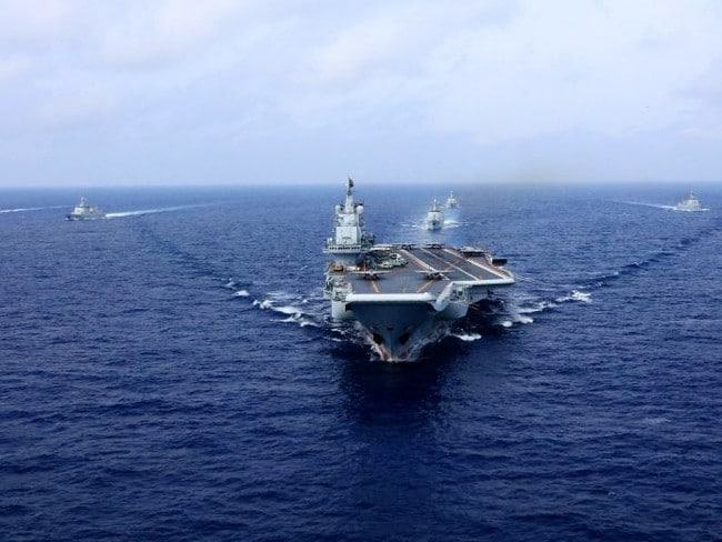 China's first aircraft carrier, Liaoning, during recent military exercises in the South China Sea. Picture: Xinhua