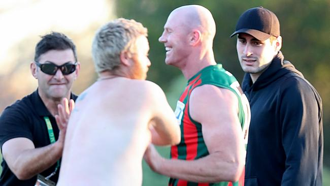 Barry Hall is confronted by a streaker while playing for The Basin in the EFL. Picture: Alex Coppel.
