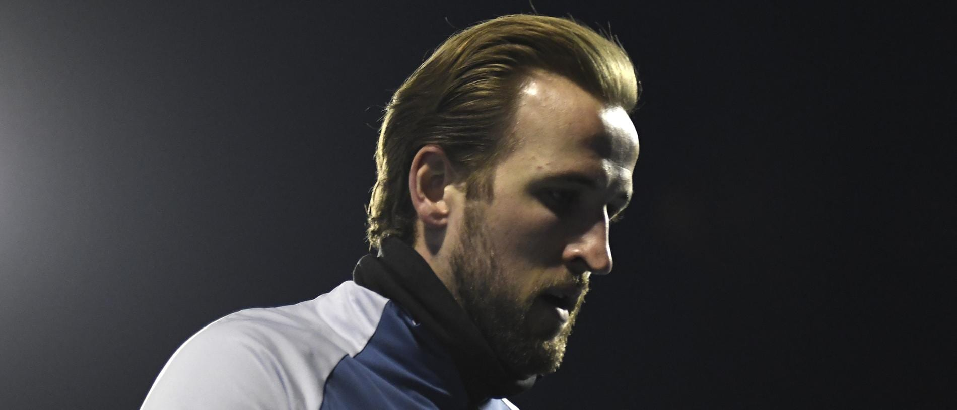 ZAGREB, CROATIA - MARCH 18: Harry Kane of Tottenham Hotspur looks on prior to the UEFA Europa League Round of 16 Second Leg match between Dinamo Zagreb and Tottenham Hotspur at Stadion Maksimir on March 18, 2021 in Zagreb, Croatia. Sporting stadiums around Europe remain under strict restrictions due to the Coronavirus Pandemic as Government social distancing laws prohibit fans inside venues resulting in games being played behind closed doors. (Photo by Jurij Kodrun/Getty Images)