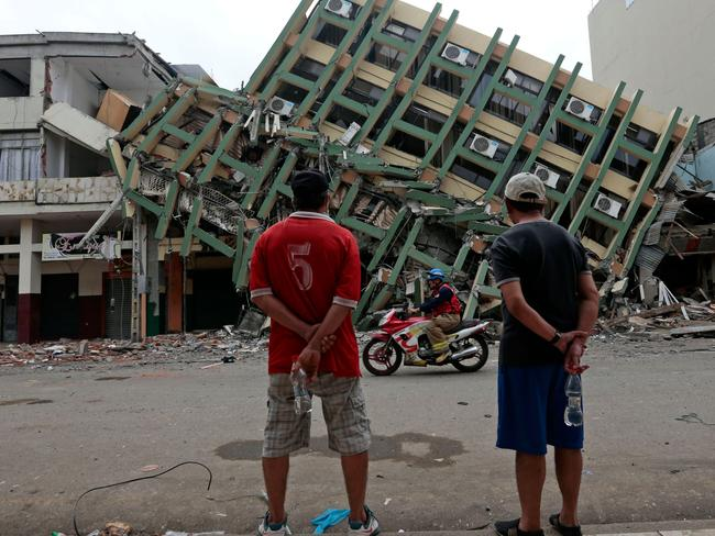 A massive earthquake in Ecuador in 2016 killed more than 600 people. Picture: AFP/ Juan Cevallos