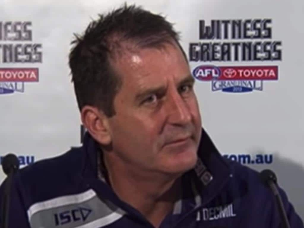 Ross Lyon teed off at a reporter after a Qualifying Final win in 2013.