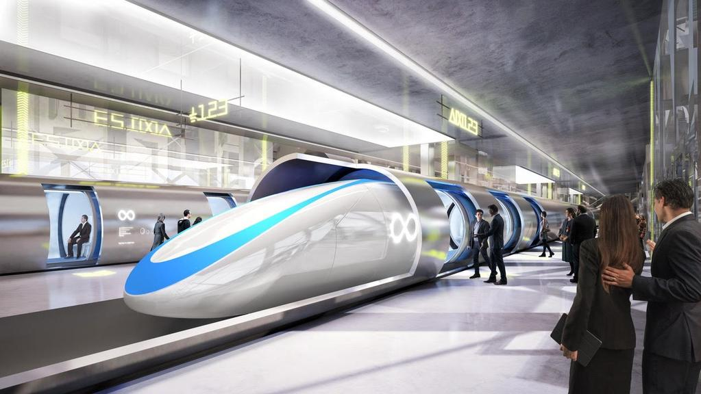 an artists impressions of the planned hyperloop transit system