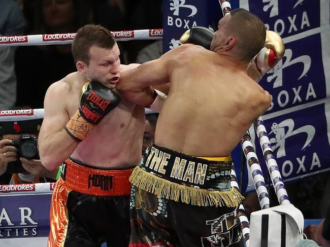 Jeff Horn unloads on Anthony Mundine. Picture: Peter Wallis