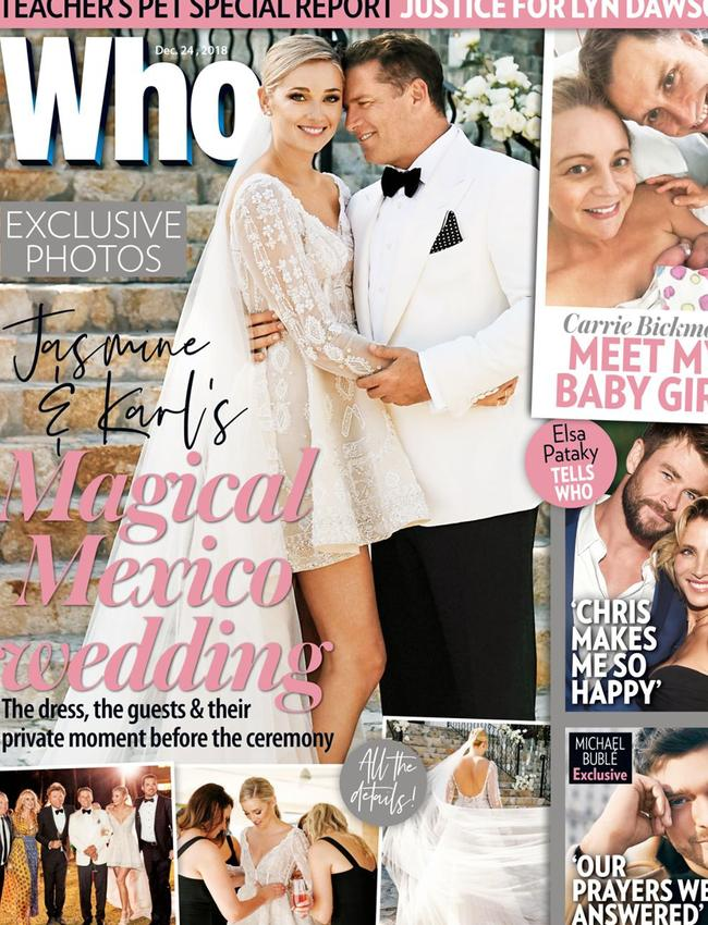 Karl and Jasmine on the cover of Who magazine. Picture: Who