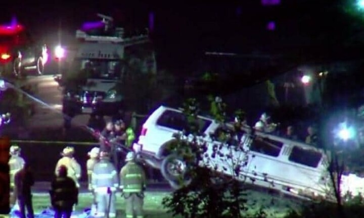 Emergency services recover the limousine which crashed and killed 20 people. Picture: CBS6 AlbanySource:Supplied
