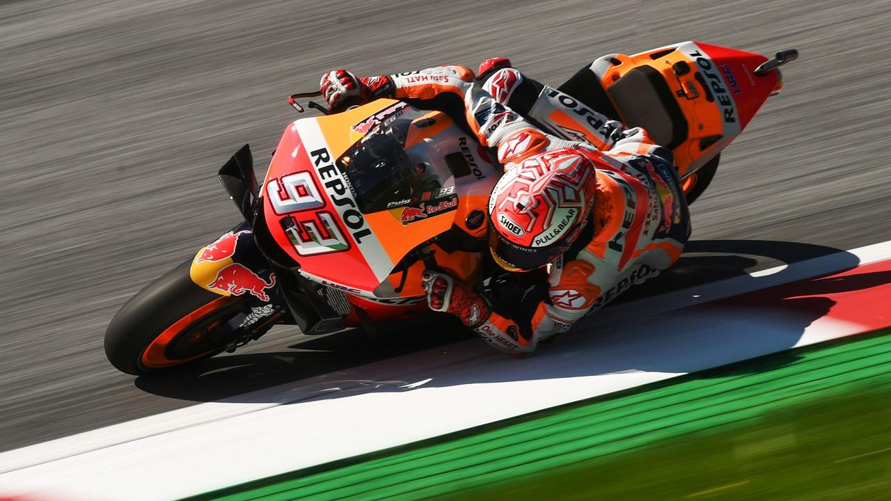 Championship leader Marc Marquez set the quickest time on his Honda during Friday's two practice sessions for this weekend's Austrian MotoGP.