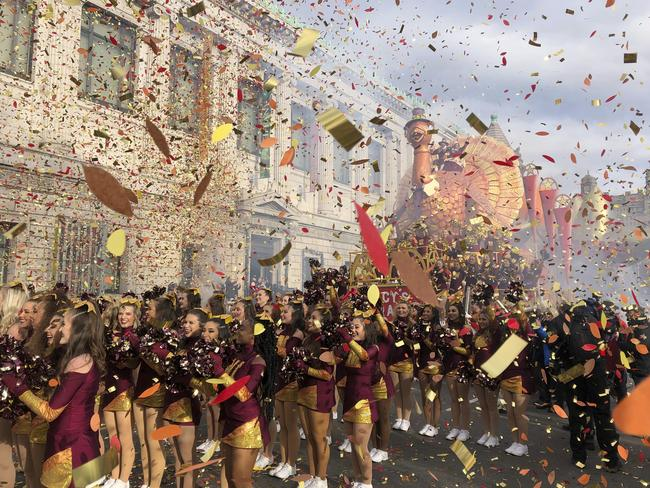 Confetti flies at the start of the Macy's Thanksgiving Day Parade. Picture: AP