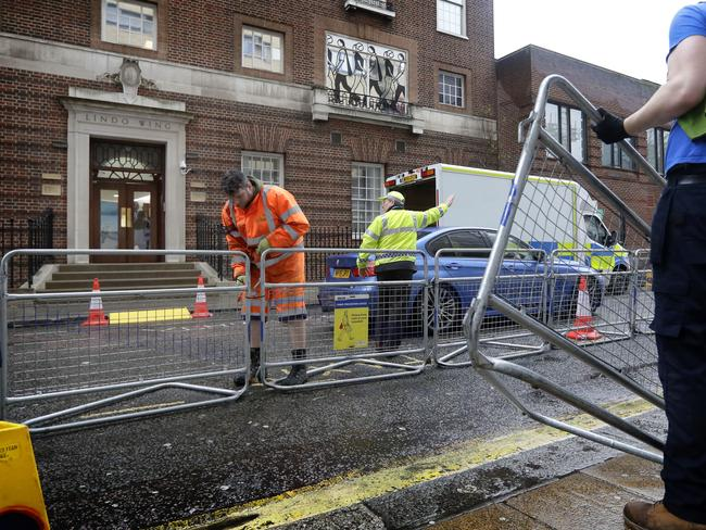 Barriers are erected outside the Lindo Wing of St. Mary's Hospital in Paddington, London on Monday April 9. Picture: AP Photo/Kirsty Wigglesworth.