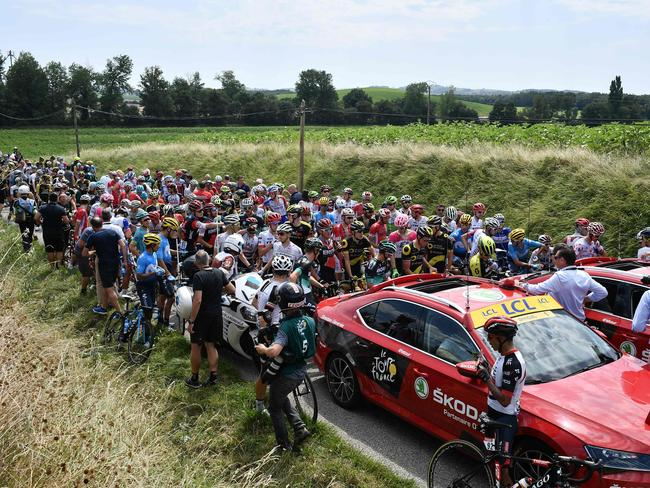 tour de france 2018  stage 16 halted after protest