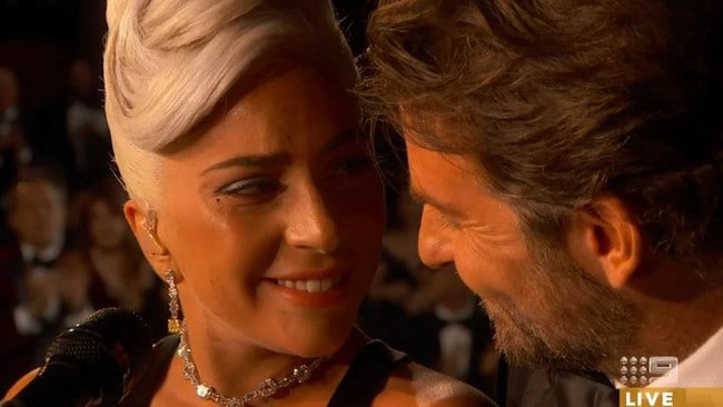 Lady Gaga and Bradley Cooper gave an intimate performance at the 2019 Oscars. Picture: Channel 9
