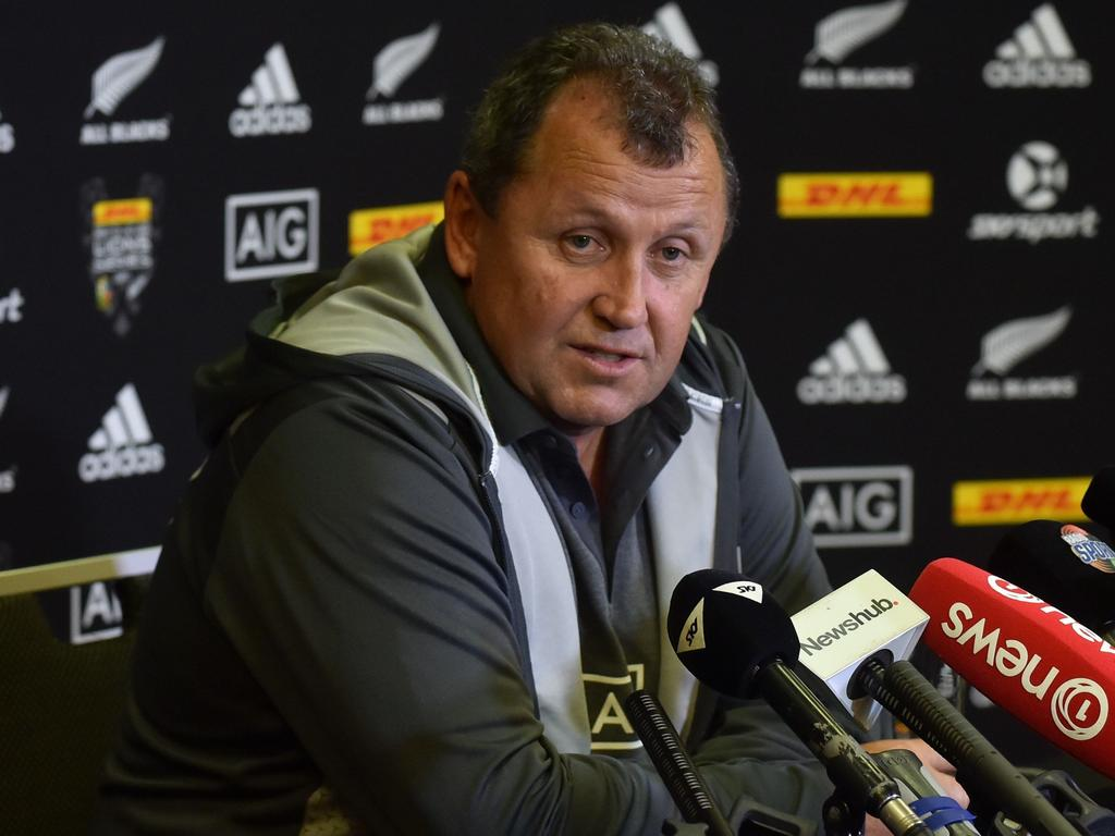 New Zealand All Blacks assistant coach Ian Foster speaks at a press conference ahead of the third Test rugby match against the British and Irish Lions, in Auckland on July 4, 2017.  The New Zealand All Blacks will play the British and Irish Lions in the third and final Test rugby match at Eden Park in Auckland on July 8. / AFP PHOTO / PETER PARKS
