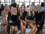 Alexandra Richards, Theodora Richards, Harley Viera Newton, Jessica Hart and Princess Maria-Olympia of Greece and Denmark attend the Michael Kors Spring 2017 Runway Show on September 14, 2016. Picture: Getty