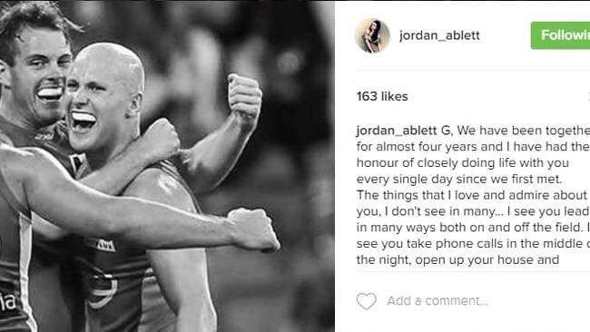Jordan Ablett has posted her support for husband Gary.