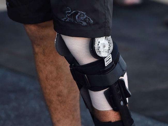 Seen is the strapped left leg of Nathan Cleary.