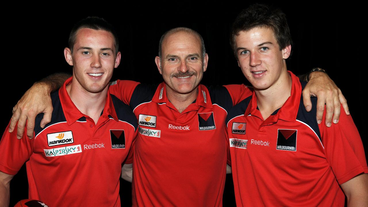 Dean Bailey with Tom Scully and Jack Trengove.