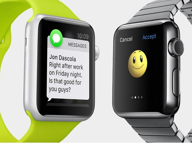 Apple Watch ... users can receive and send messages from their wrists. Picture: Apple