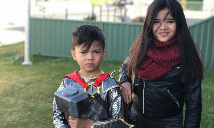 <b>THOR MEETS HESTER.</b> What little man doesn't want to be a Marvel character? Here is Nye, officially from Neil Gaiman's book,  <i>Norse Mythology</i>, and big sister, Harper as Hester Shaw from the  <i>Mortal Engines</i> series.  <p><i>Image: supplied.</i></p>