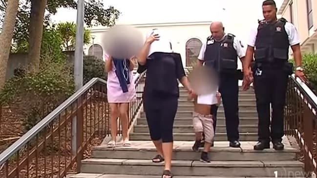 Tina Maria Cash, who claims she 'vomited blood' in a police cell, leaves court after pleading guilty to thieving. Picture: 1News.
