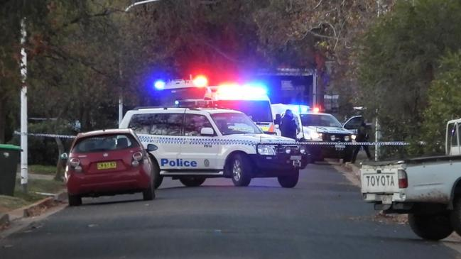 The crime scene following a shooting at Parkes. Picture: TNV