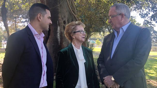 Independent MP for Sydney Alex Greenwich, NSW Pro-choice Alliance Chair Wendy McCarthy and NSW Health Minister Brad Hazzard. Picture: AAP/Heather McNab