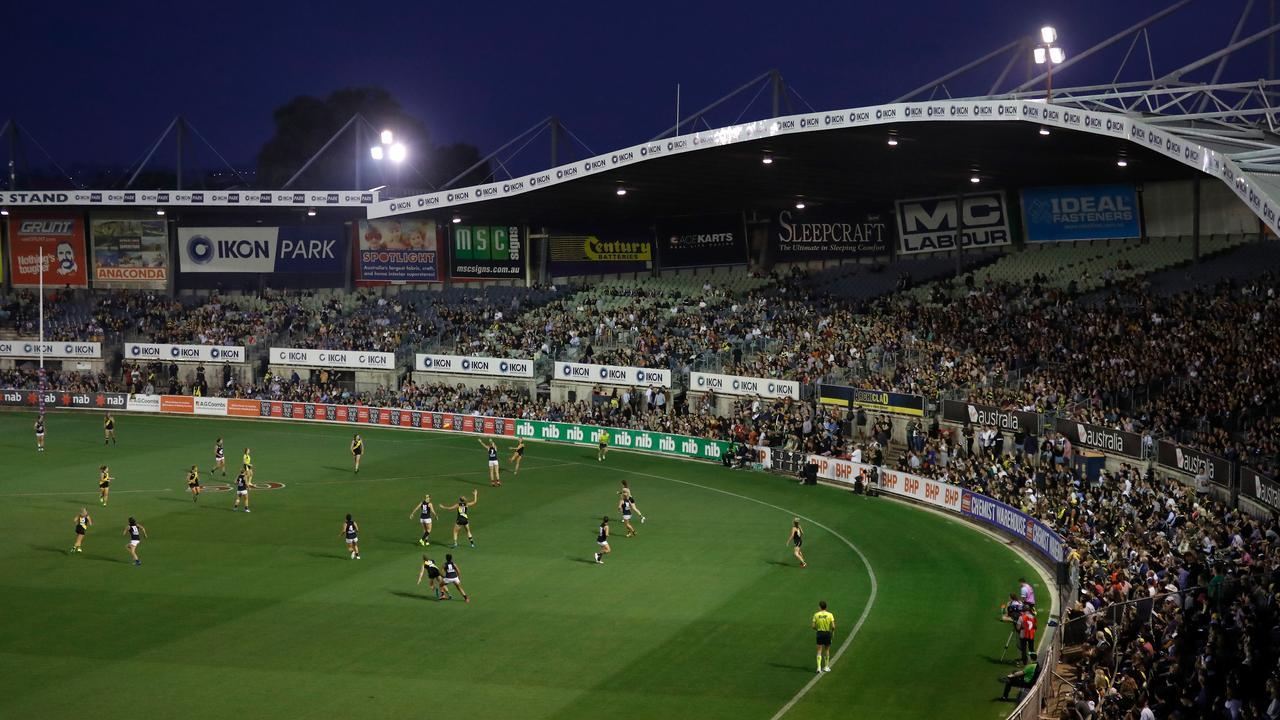 The AFLW season once again kicked off at Ikon Park, with Richmond 'hosting' Carlton. (Photo by Michael Willson/AFL Photos via Getty Images)