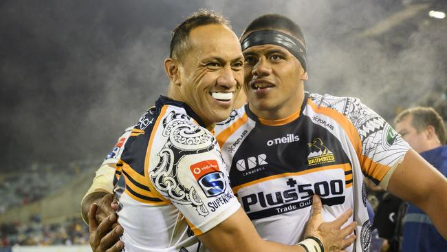 Brumbies Allan Alaalatoa and Christian Lealiifano after their win over Queensland last week.They take on the Sharks in the first week of Super Rugby finals this week. .