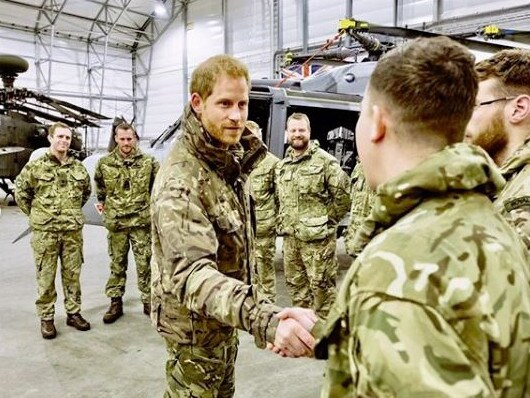 Former soldier Harry meets British troops. Picture: Instagram