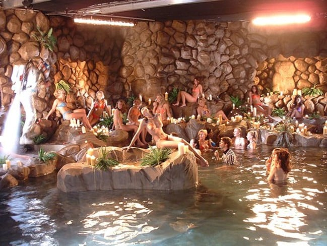 A party held at the Grotto at Hugh Hefner's Playboy mansion. Picture: Supplied