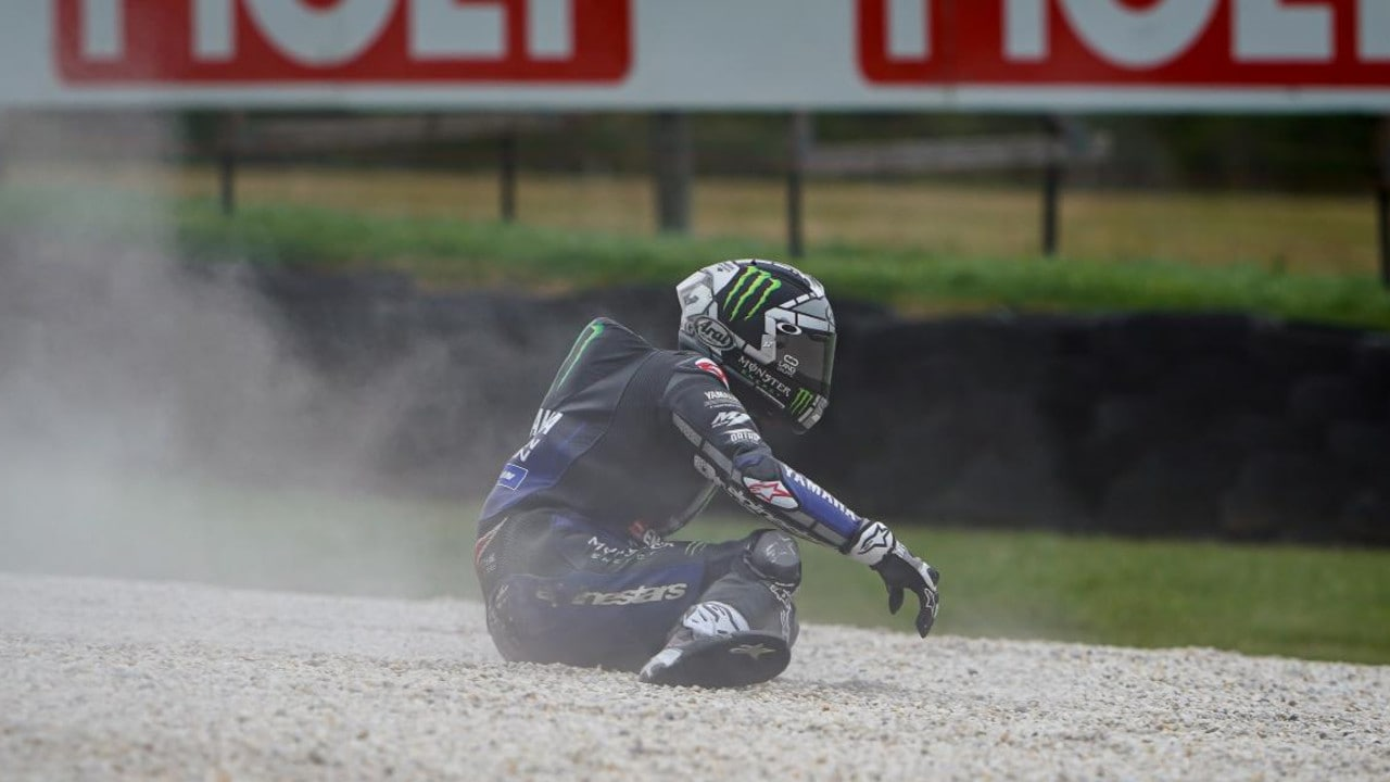 Vinales slowly gets to his feet. Picture: MotoGP.com