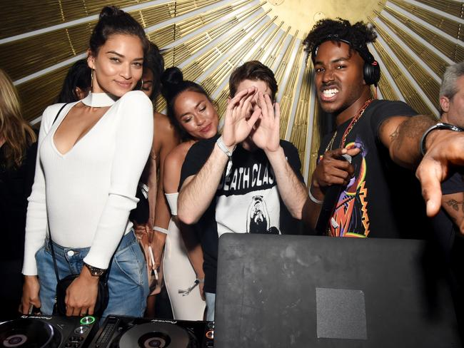 Supporting her fiance, DJ Ruckus (far right) during his set at Beauty & Essex in LA. Picture: Getty Images