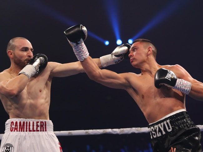 Tim Tszyu goes toe to toe with Joel Camilleri. Picture: Brett Costello