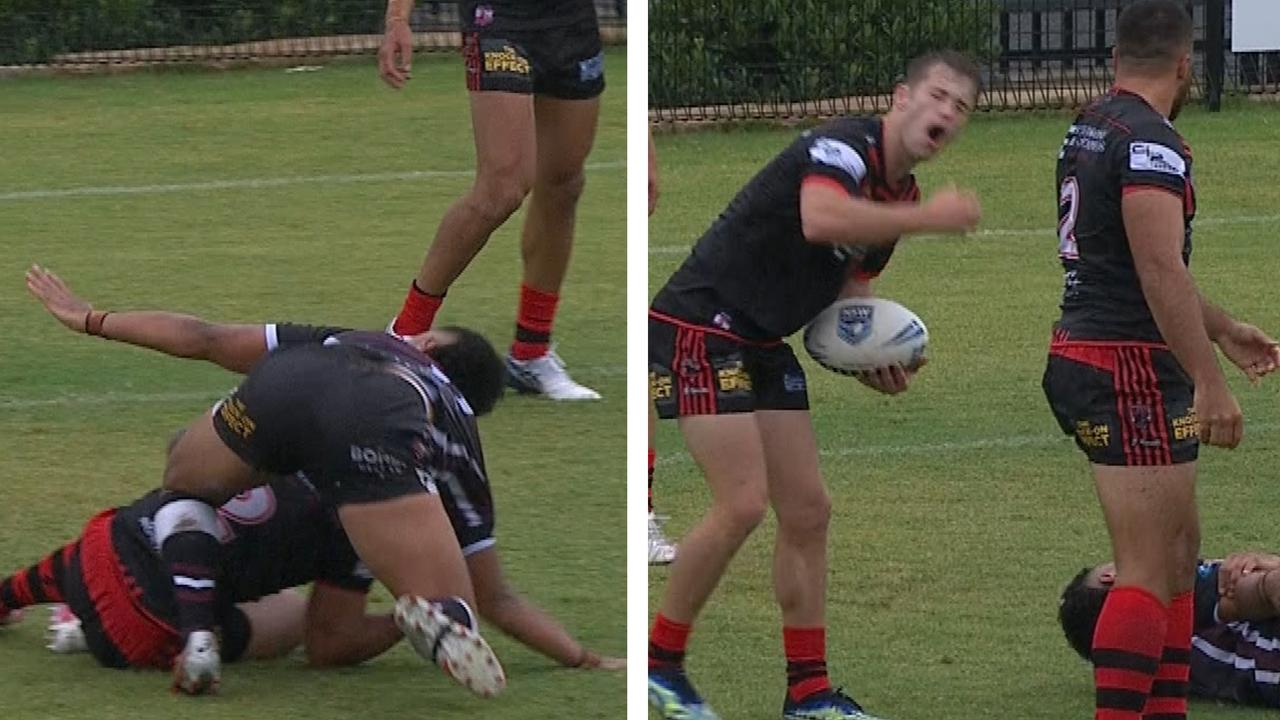 Players react in disgust after the dislocation
