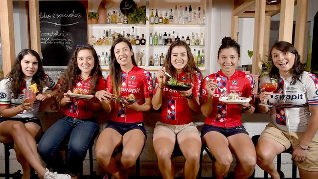 Mexican cycling team members dining at Mexican Society. Picture: Naomi Jellicoe