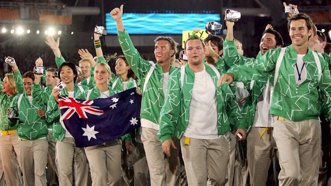 Team Australia acknowledges the crowd as they walk onto the field during the opening ceremony of the Athens 2004 Summer Olympic Games on August 13, 2004 at the Sports Complex Olympic Stadium in Athens, Greece. Picture: Getty Images