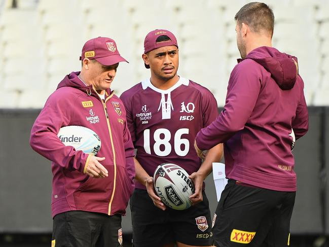 Anthony Milford with Queensland coach Kevin Walters (left). (Photo by Quinn Rooney/Getty Images)
