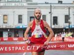 Paul Mulholland finishing first in the half marathon, Picture: Matt Loxton