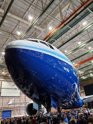 Boeing showed off the new 777X to employees. Picture: Boeing Employee/ Supplied Source: Twitter #766