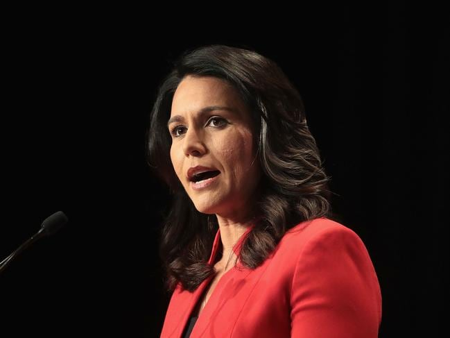 Hawaii congresswoman Tulsi Gabbard speaks at the Iowa Democratic Party's Hall of Fame Dinner on June 9 in Cedar Rapids, Iowa. Picture: AFP